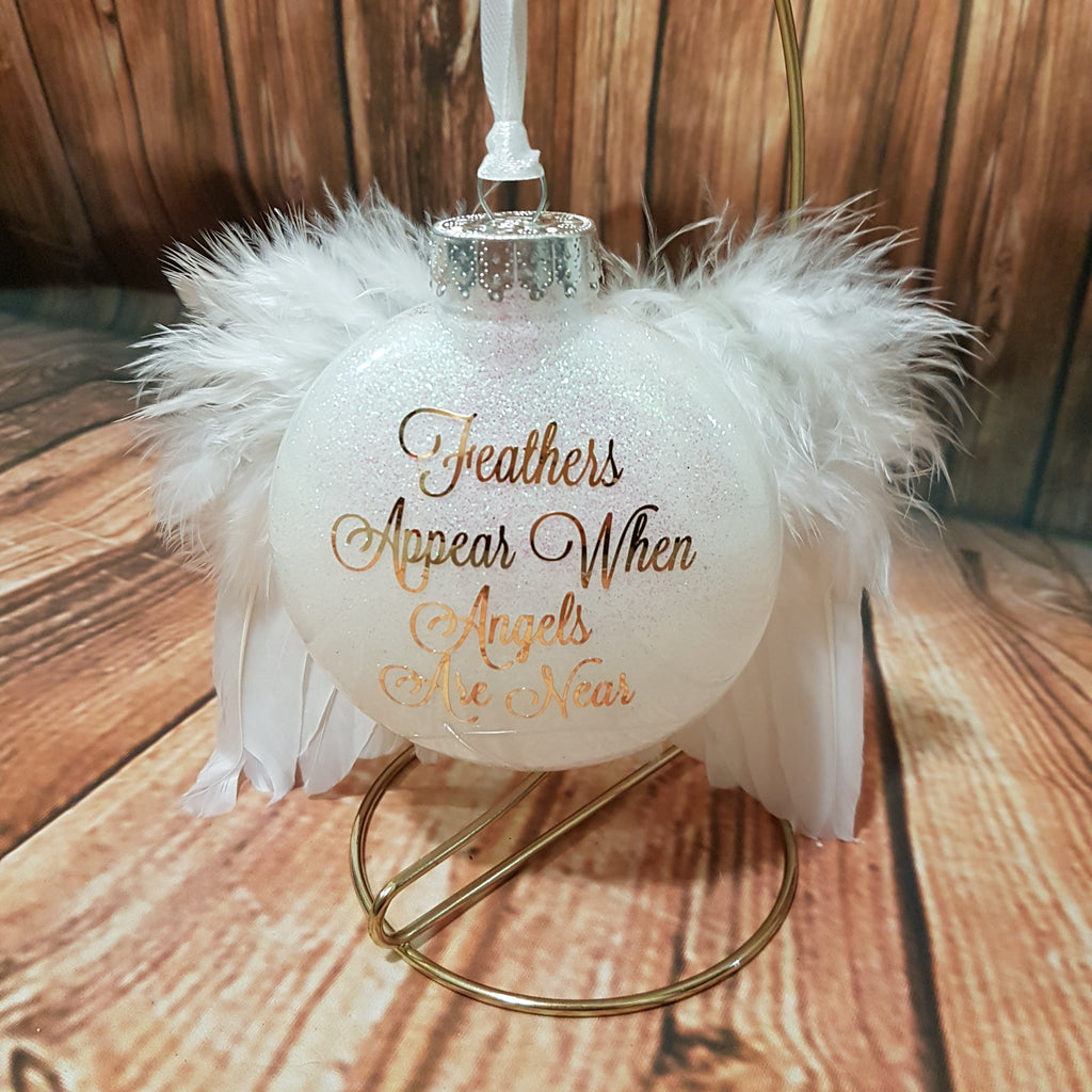 'Feathers Appear When Angels Are Near' Angel Wings Ornament