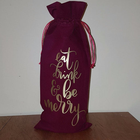 'Eat Drink & Be Merry' Wine Bag