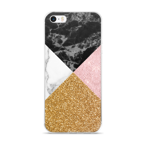 Marble + Gold Sparkle iPhone Case