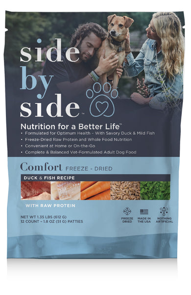 Comfort Freeze-Dried | Duck & Fish Pet Food with Raw Protein (front)