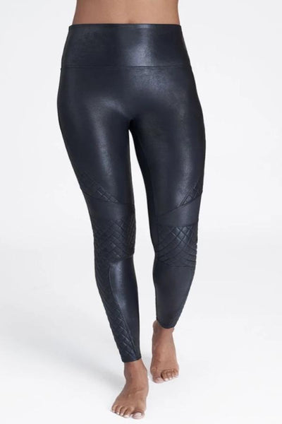 Spanx Faux Leather Quilted Leggings: Very Black