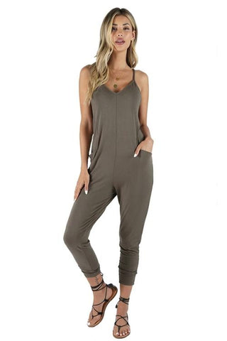 Bobi Cami Pocket Jumpsuit: Brigade