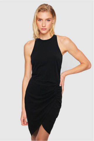 Pam & Gela Tank Dress With Wrap Skirt: Black