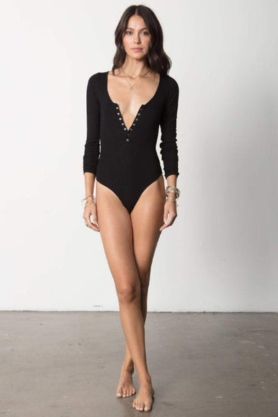 Stillwater LA The Snap Front Bodysuit: Black