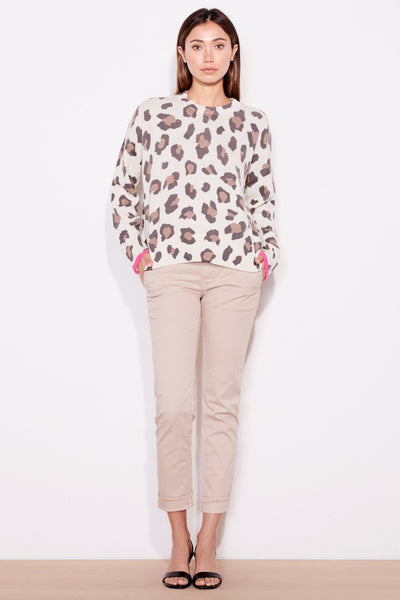 Sundry Leopard Oversized Knit Sweater: Bone