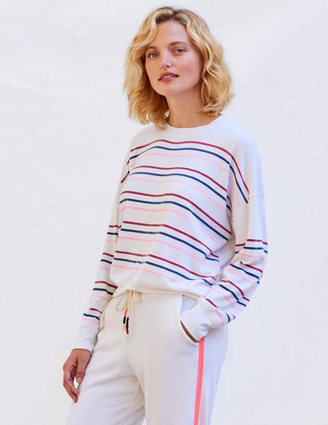 Sundry Stripes Basic Sweatshirt: Cream