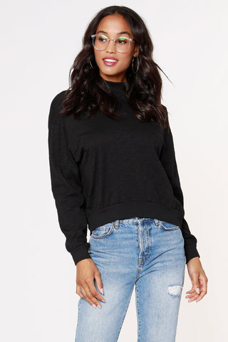 Bobi Rib Mix Turtleneck: Black