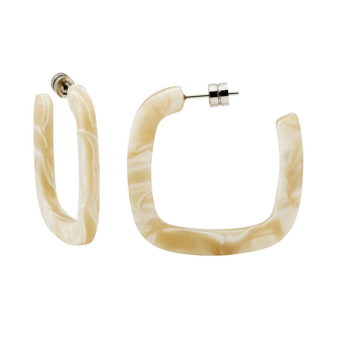 Machete Midi Square Hoops: Ivory
