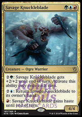 **1x FOIL Savage Knuckleblade MTG KTK Khans of Tarkir Rare MINT green blue red