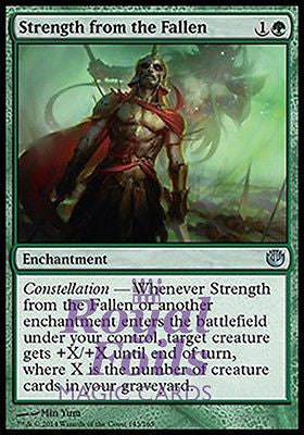 **2x FOIL Strength from the Fallen JOU MTG Journey Into Nyx Uncommon MINT green