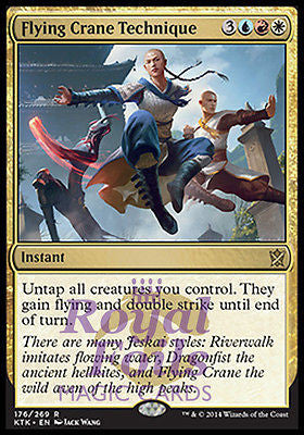 **2x FOIL Flying Crane Technique* MTG KTK Khans of Tarkir Rare MT blue red white