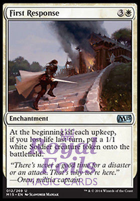 **2x FOIL First Response** MTG M15 Core Set Uncommon MINT white enchantment