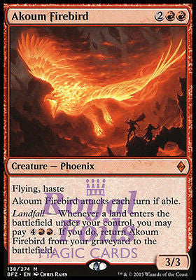 **1x FOIL Akoum Firebird** BFZ MTG Battle for Zendikar Mythic MINT red
