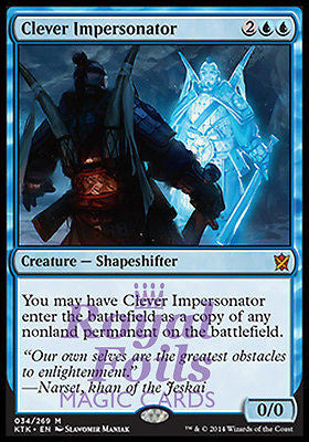 **1x FOIL Clever Impersonator** KTK MTG Khans of Tarkir Mythic MINT blue