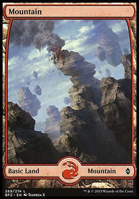 **1x FOIL Mountain 269** BFZ MTG Battle for Zendikar Full Art Basic Land MINT red
