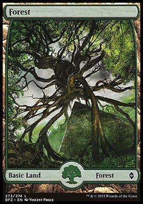 **1x FOIL Forest 273** BFZ MTG Battle for Zendikar Full Art Basic Land MINT green