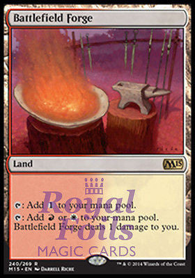 **1x FOIL Battlefield Forge** MTG M15 Core Set Rare MINT red white land