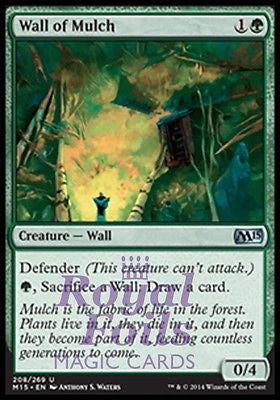 **2x FOIL Wall of Mulch** MTG M15 Core Set Uncommon MINT green
