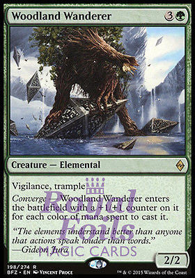 **1x FOIL Woodland Wanderer* BFZ MTG Battle for Zendikar Rare MINT green