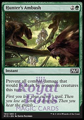 **4x FOIL Hunter's Ambush** MTG M15 Core Set Common MINT green instant