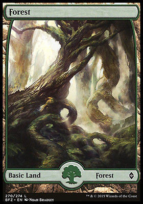 **1x FOIL Forest 270** BFZ MTG Battle for Zendikar Full Art Basic Land MINT green