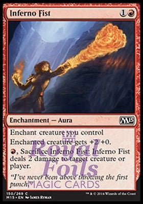 **2x FOIL Inferno Fist** MTG M15 Core Set Common MINT red enchantment aura