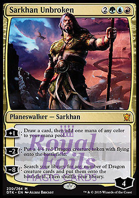 **1x FOIL Sarkhan Unbroken* DTK MTG Dragons of Tarkir Mythic MINT green blue red