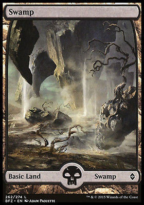 **1x FOIL Swamp 262** BFZ MTG Battle for Zendikar Full Art Basic Land NM+ black