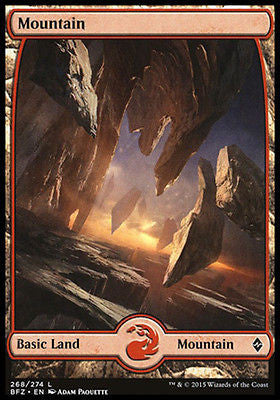 **1x FOIL Mountain 268** BFZ MTG Battle for Zendikar Full Art Basic Land MINT red