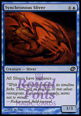 **3x FOIL Synchronous Sliver PLC MTG Planar Chaos Common 2 MT + 1 NM blue