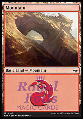 **2x FOIL Mountain #182** FRF MTG Fate Reforged Basic Land MINT red