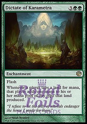 **1x FOIL Dictate of Karametra** JOU MTG Journey Into Nyx Rare MINT green