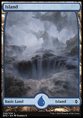 **1x FOIL Island 259** BFZ MTG Battle for Zendikar Full Art Basic Land NM blue