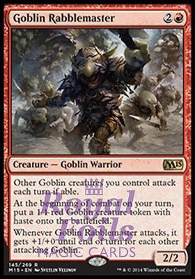 **1x FOIL Goblin Rabblemaster** MTG M15 Core Set Rare MINT red warrior