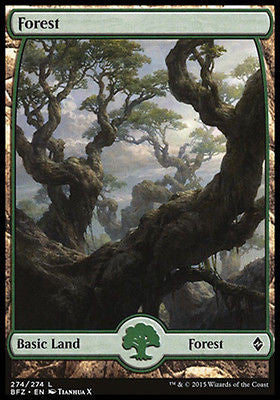 **1x FOIL Forest 274** BFZ MTG Battle for Zendikar Full Art Basic Land MINT green