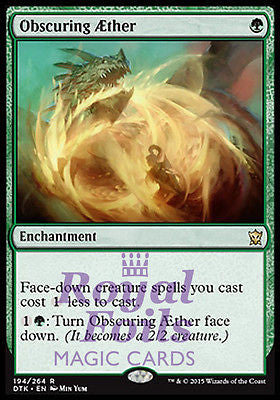 **1x FOIL Obscuring Æther DTK MTG Dragons of Tarkir Rare MINT aether green