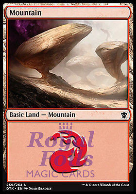**4x FOIL Mountain #259** DTK MTG Dragons of Tarkir Basic Land MINT red