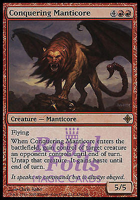 **3x FOIL Conquering Manticore** ROE MTG Rise of Eldrazi Rare 2 MT + 1 NM red