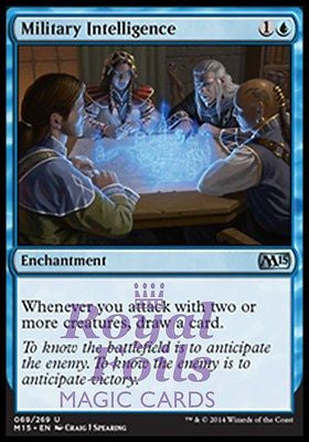 **2x FOIL Military Intelligence* MTG M15 Core Set Uncommon MINT blue enchantment