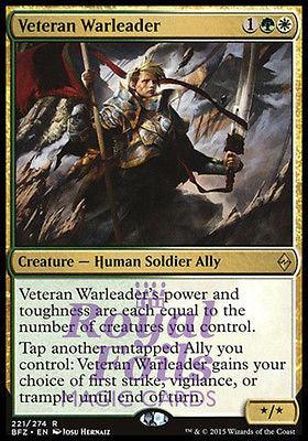 **1x FOIL Veteran Warleader BFZ MTG Battle for Zendikar Rare MINT green white