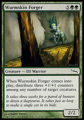 **4x FOIL Wurmskin Forger** MDN MTG Mirrodin Common MINT green