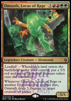**1x FOIL Omnath Locus of Rage BFZ MTG Battle for Zendikar Mythic MINT red green