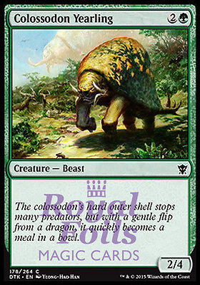 **4x FOIL Colossodon Yearling* DTK MTG Dragons of Tarkir Common MINT green