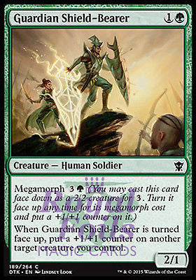 **4x FOIL Guardian Shield-Bearer* DTK MTG Dragons of Tarkir Common MINT green