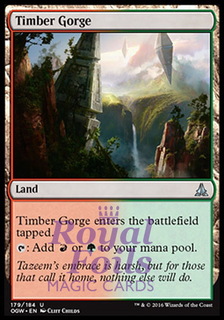 **2x FOIL Timber Gorge* OGW MTG Oath of the Gatewatch Uncommon NM red green land