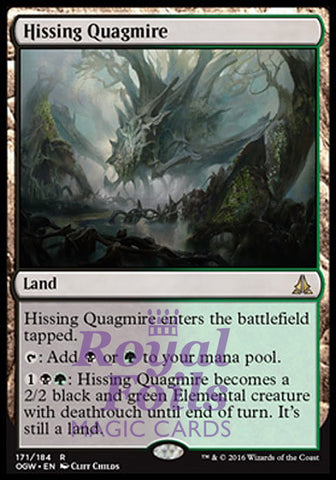 **1x FOIL Hissing Quagmire* OGW MTG Oath of the Gatewatch Rare MINT black green land