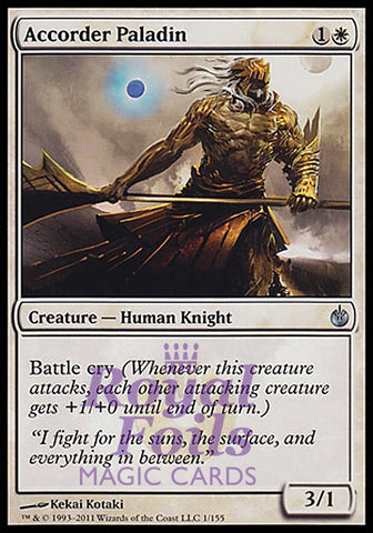 **1x FOIL Accorder Paladin** MBS MTG Mirrodin Besieged Uncommon VF white