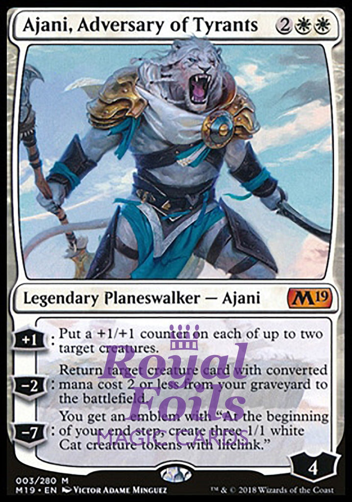 **1x FOIL Ajani Adversary of Tyrants** M19 MTG Core Set 2019 Mythic MINT white planeswalker