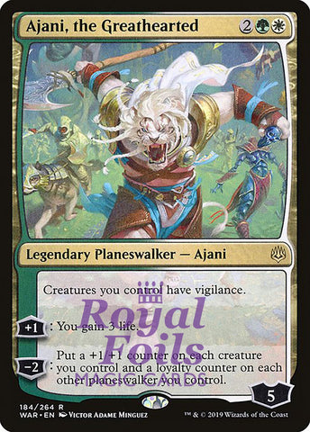 **1x FOIL Ajani, the Greathearted** WAR MTG War of the Spark Rare MINT green white