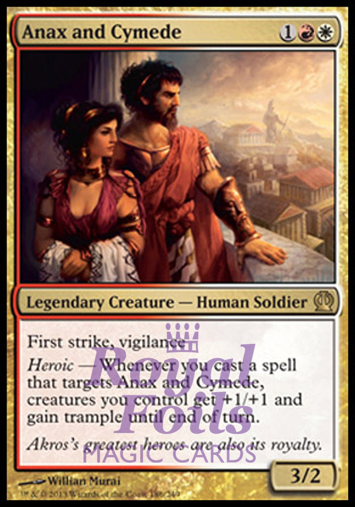 **1x FOIL Anax and Cymede** THS MTG Theros Rare MINT red white